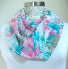 Romantic colors Infinity scarf, Circle Scarf, Loop Scarf, Scarves, Shawls, Spring-Fall-Winter-Summer fashion, Woman Fashion, blue pink scarf