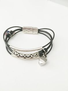 Remembrance Heart Urn Leather Bracelet  In by CrookedCrystal