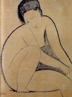 fleurs-maladives: Nu assis, Modigliani 1918