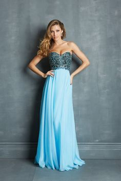 2014 Faddish Prom Dresses Sweetheart A Line Sweep Train Blue Chiffon Bicolor USD 159.99 BFPK5D31ZQ - BlackFridayDresses.com