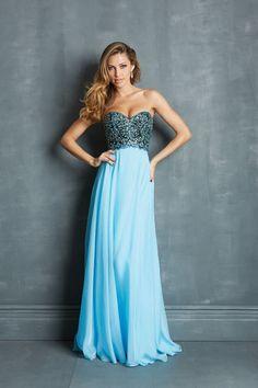 2014 Faddish Prom Dresses Sweetheart A Line Sweep Train Blue Chiffon Bicolor USD 159.99 BFPK5D31ZQ - BlackFridayDresses.com