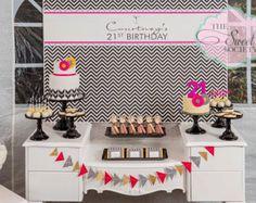 Black and White CHEVRON 21st Birthday Party Printable Backdrop - you print