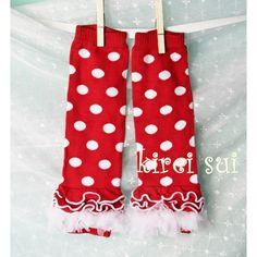 red minnie mouse polka dot material   Girls KS Red White Polka Dots Minnie Mouse Leg Warmers with White ...