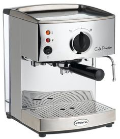 Lello 1375 Ariete Cafe Prestige Coffee Maker espresso/cappuccino machine made of heavy-duty stainless steel ThermoBlock pump-driven system provides uniform, constant pump pressure Removable water reservoir can be refilled from the top at any time