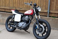SR500 Street tracker.  This bike was what made me want a Yamaha 500 single.  I want to build a similar bike with my XT500.  I really like the dual front brakes, they are from a Yamaha YZF.