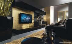 Contemporary Living Room Design Ideas from Presotto Italia, Black and Gold Living Room