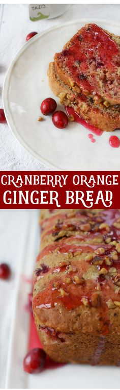Cranberry Orange Ginger Bread! This skinny bread is loaded with flavors of fall, and easily made vegan! Serve as is or with a luscious cranberry drizzle. | www.delishknowledge.com