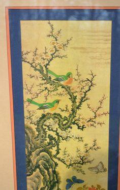 Vintage Asian Print Birds on a Branch Butterflies Flowers Framed with Glass Oriental Chinoiserie Decor No 1 PanchosPorch Butterfly Flowers, Butterflies, So Creative, Flower Frame, Chinoiserie, Oriental, Birds, Asian, Glass