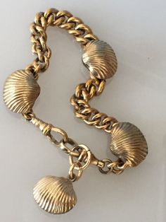 Antique Shell Slide Watch Chain Bracelet w/ Fob  by DayOldToyStore