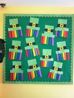 Bulletin Board for March (Preschool?) Color order, shapes, etc...