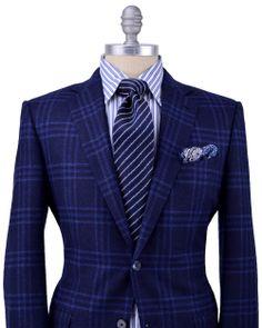 Ermenegildo Zegna | Blue Plaid Sporcoat | Apparel | Men's- plaid suit + mixing patterns