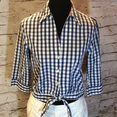 TOMMY HILFIGER BLUE AND WHITED CHECK CROP TOP Adorable button down crop top with a tie at the waist. Perfect condition. Tommy Hilfiger Tops Crop Tops