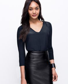 Faux Leather Trim Silk Tunic | Ann Taylor Paired with a Faux Leather Pencil Skirt for a pulled together office look.