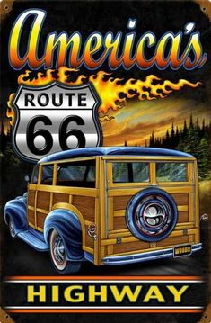 Let's go back to those rock and roll days of yesteryear. The cars, the music and good old Route 66 where you get your kicks. America's mother road the motels, the burger joints and of course the music. Route 66 Usa, Route 66 Sign, Old Route 66, Route 66 Road Trip, Historic Route 66, Steve Mcdonald, Coca Cola, Novelty Signs, Woody Wagon