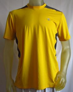 Champion Mens PowerTrain PowerFlex Short Sleeve T Shirt Yellow / Gray Large  #Champion #BasicTee