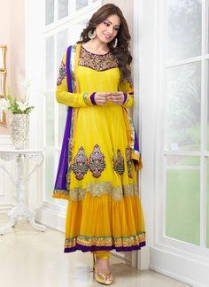 Bipasha Basu Yellow Net Anarkali Salwar Kameez