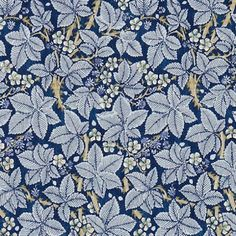 Bramble Fabric Blackberry bushes on a rich indigo with an abundance of berries and white flowers create this wonderful design from the Morris & Co collection.
