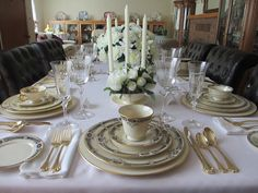 """""""Sampler Table"""" - Formal table set with assorted Lenox place settings"""