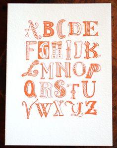 hand drawn alphabet, print by 1canoe2 via that's happy