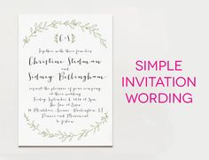 """White wedding invitation with black wording and green leaf borders, with the text """"simple invitation wording"""""""