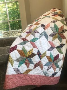 Scrappy Quilt Patterns, Scrappy Quilts, Easy Quilts, Star Quilt Blocks, Star Quilts, Half Square Triangle Quilts, String Quilts, Blue Quilts, Quilting Designs