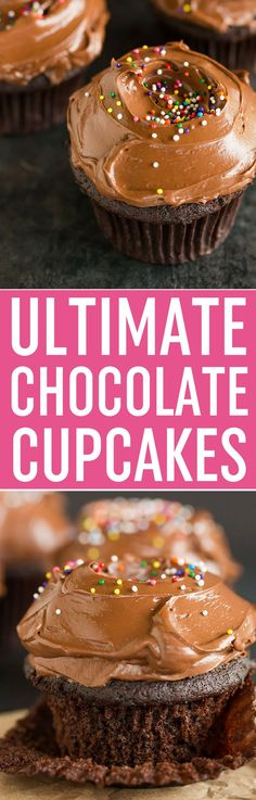 Ultimate Chocolate Cupcakes - These are the BEST chocolate cupcakes! Moist chocolate cupcakes made from scratch with a chocolate ganache center and amazing chocolate frosting. via @browneyedbaker