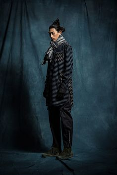 1S02 2 Tone Long Work LS Shirt/1P03 Army Zip Pants/1A11 Checked Scarf/1A06 Knitted Gloves