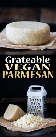 Grateable Vegan Parmesan Cheese - Recipes to Make - Vegan Cheese Recipes, Vegan Parmesan Cheese, Vegan Sauces, Vegan Foods, Vegan Dishes, Dairy Free Recipes, Raw Food Recipes, Vegan Lunches, Best Vegan Cheese