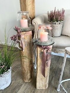 Home Crafts, Diy And Crafts, Garden Deco, Wood Candle Holders, Hello Spring, Decoration, Pillar Candles, Rustic Decor, Upcycle