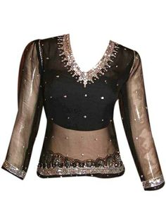 Dress like a star in the stylish party wear kurti in beautiful black color with intricate work on neck and sleeves.