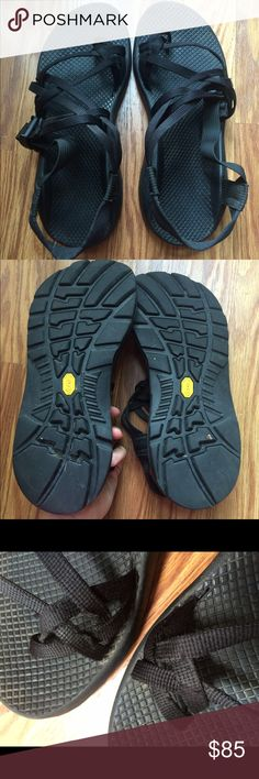 Chaco vibram soles Gorgeous black chacos; vibram soles; double stands; soles in perfect shape; slight wear around toe wrap and heel, fraying as shown. Chacos Shoes Sandals