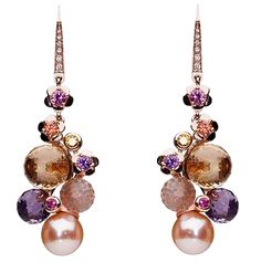 Chanel Mademoiselle earpendants in 18K pink gold, colored sapphires, colored stones, fresh water pearls and diamonds.