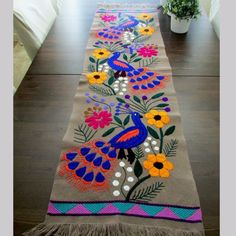 Table runner beautiful color gray as main color, Mexican Textile, it has embroidered Peacock in blue and orange, hummingbirds, other birds and Mexican Embroidery, Hand Embroidery Patterns, Embroidery Art, Cross Stitch Embroidery, Diy And Crafts, Arts And Crafts, Mexican Textiles, Deco Boheme, Embroidery Techniques