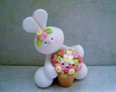 Bunny - Pot of Flowers - Polymer Clay - Easter - Spring - Figurine