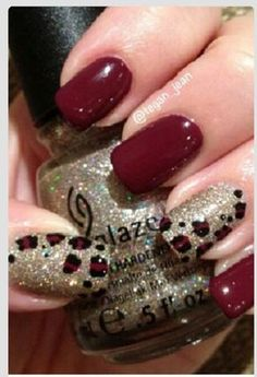 Wine with gold glitter & leopard print