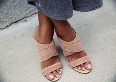 Suede heels are in.