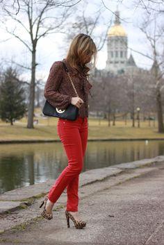Floral top, Red Pants, Leopard Shoes