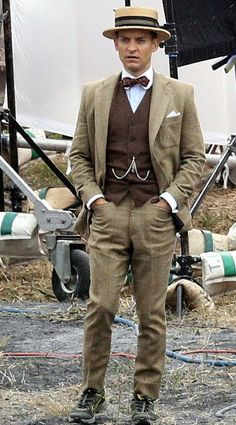 El actor Tobey Maguire es Nick Carraway en The Great Gastby.
