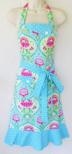 Blue Pink and Green Floral Apron Aqua Polka Dots by KitschNStyle