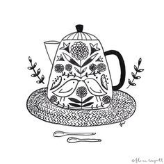 #inktober Day 11 - I hardly ever get sick but today it has hit me - I'd been feeling on the edge of a cold for a few days but today it has finally arrived. So lots of tea in pretty teapots to keep me soothed today!  #inktober2015 #ink #illustration #teapot #drawing #florawaycott by florawaycott