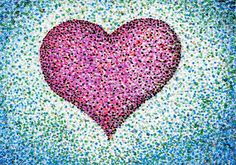 pointillism heart example- good example of how your eye blends the colors together