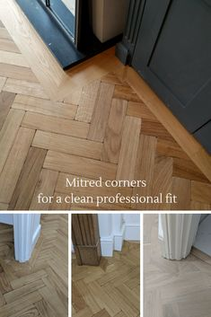 We prefer to craft mitred corners when we fit our wooden floors, as it creates a… - Wood Parquet Engineered Hardwood Flooring, Parquet Flooring, Stone Flooring, Wooden Flooring, Hardwood Floors, Living Room Flooring, Kitchen Flooring, Stairs Cladding, Floor Edging