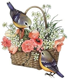 "Photo from album ""Art Flowers"" on Yandex. Decoupage Vintage, Decoupage Paper, Art Floral, Images Vintage, Hand Dyed Yarn, Flower Art, Art Flowers, Bird Art, Beautiful Birds"