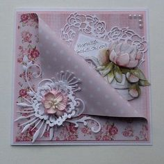 Jan Brown: JanB Handmade Cards Atelier: Feminine Flowery CoTwo bold prints overlaid with a big bow - changing up the p Fancy Fold Cards, Folded Cards, Handmade Birthday Cards, Greeting Cards Handmade, Shabby Chic Cards, Shaped Cards, Pretty Cards, Sympathy Cards, Vintage Cards