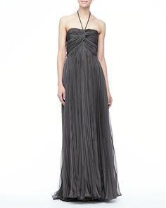 Catherine Deane Nina Pleated Halter Gown Gunmetal http://mostlovedclothing.tumblr.com/post/84723564613/catherine-deane-nina-pleated-halter-gown-gunmetal