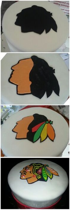 how our Chicago Blackhawks cake came together, made from fondant and icing