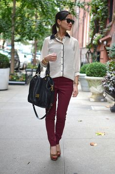 Wearing this tomorrow! Fall outfit: maroon/burgundy pants, loose black/white blouse, and leopard print heels // StyleCueBySuzieQ.com