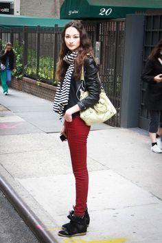 sneakers and burgundy pants