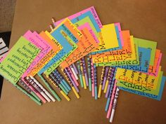 End of the year student gift - spell out their names with qualities about them in a flag on a pencil