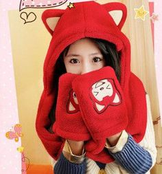 2015 New Fashion Hats Scarf Set with Pocket Women Winter Warm Scarf Hat Gloves Cartoon Cute Bonnet Echarpe Hooded Scarfs
